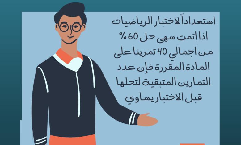 استعدادا لاختبار الرياضيات ، إذا أتمت سهى حل 60 ٪ من إجمالي ٤٠ تمرينًا على المادة المقررة ، فإن عدد